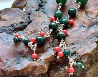Red-Green earrings - long drop earrings - Green-Red natural-stones - boho - handmade, silver earrings - ready-to-ship.