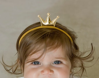 Princess Headband - Baby Gold Crown Headbands - Baby Girl Gold Crown Handmade Headbands - Fits From Babies to Adults - Golden Beam