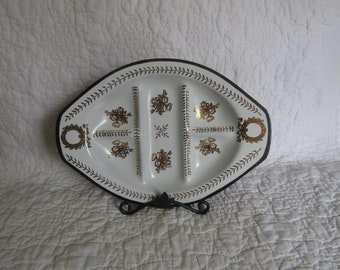 Vintage Glass Divided Dish Black White with Gold design
