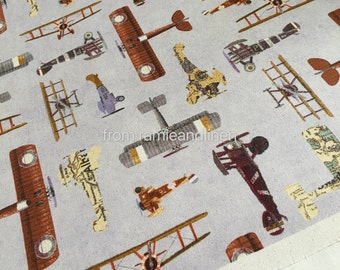 """Japanese cotton fabric, vintage aircraft print cotton fabric, half yard by 43"""" wide"""