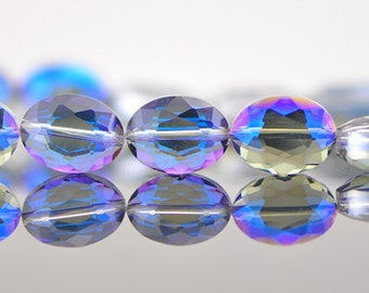 Oval  Crystal Glass Faceted beads 16mm Sparkly Blue Purple - (TS56-2)/ 48pcs