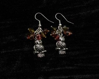 Autumn Owls Antique Silver Dangle Earrings