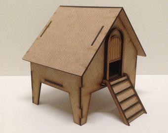 Craft chicken hut MDF kit , craft embellishment chicken hut