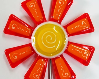 Glassworks Northwest - Orange and Marigold Flower Stake - Fused Glass Garden Art