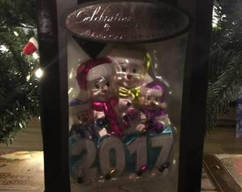 "5"" Celebrations by Radko Glass Figure Christmas Tree Ornamanet 2017 Snowman Family NIB"