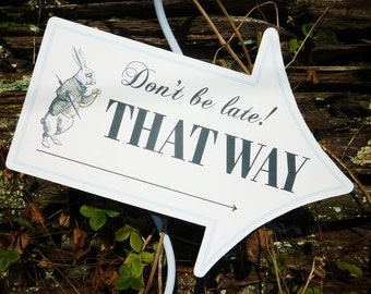 Alice in Wonderland signs This Way That Way arrows printable signs DiY birthday party wedding signs personalized editable PDF files
