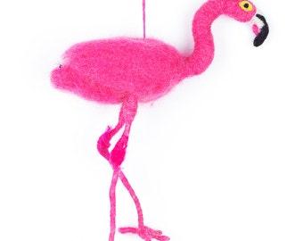 Pink Flamingo - Needle felted Bird - Exotic - Baby Shower - New Born - Christmas - Wool felt - Merino wool - Ethical - Handmade