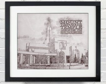 Mount Timpanogos Temple Sketch Print, Typography Poster, Print or Canvas, LDS, 8x10, 11x14, 16x20, 20x30