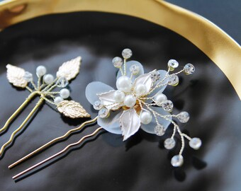 Bridal Hair Comb Wedding Hair Comb - Wedding Headpiece Bridal Headpiece Flower Hair Comb - Beaded Gold Hair Comb - Wedding Hair Accessory