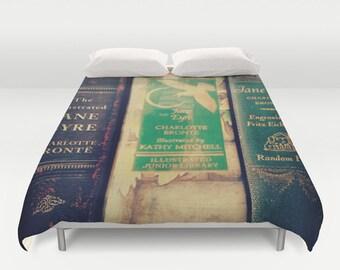 Jane Eyre Books Comforter or Duvet Cover: Bedding, bedroom, Bronte, brown, vintage books