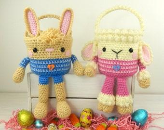 Rabbit and Lamb Easter Baskets - Amigurumi Crochet Pattern