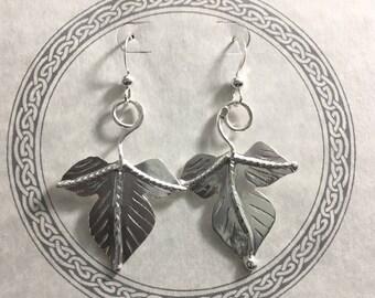 Sterling Silver Leaf Earrings with Dangle Ear Wire Hooks, Autumn Leaf Earrings, Ivy Handmade Dangle Leaf Earrings, Sterling 925
