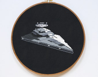 Star Destroyer, Star Wars Spaceship Cross Stitch Pattern, StarWars Cross Stitch Easy Chart, PDF Format, Instant Download