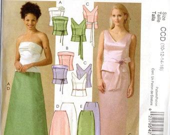 McCall's Evening Elegance Pattern 4710 SKIRTS TOPS FLOWER Belt & Sash Misses Sizes 14 16 18 20