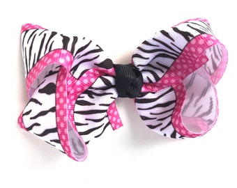Zebra hair bow - hair bows, bows, hair bows for girls, toddler hair bows, baby bows, girls hair bows, hair clips, hairbows, bows for girls