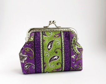 Purse Purple Paisley with Green