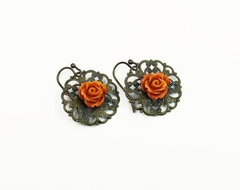 Vintage Style Antiqued Brass Filigree with Orange Rose Earrings,Victorian Style, Hand Painted Roses, Gifts for Her