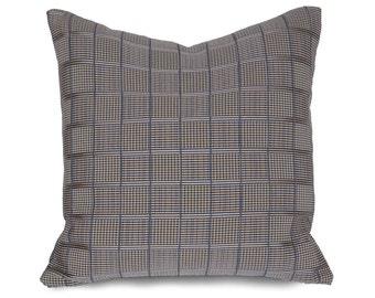 Brown Pillow, Plaid Pillow, Brown Blue, Pillow Cover, Taupe Pillow, Cushion Cover, Throw Pillow, Lumbar Pillow, Zipper, Mens Decor, 14x20