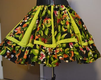 Square dance skirt in jungle print and solid multiple size