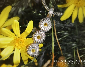 Silver and Sapphire Daisy Chain Necklace