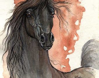 Black arabian horse, equine art, equestrian portrait,  original pen and watercolor painting