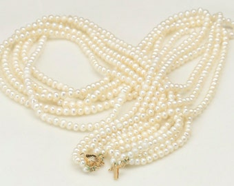 Vintage 5 Strand White Pearl with 14K Yellow Gold Clasp Necklace