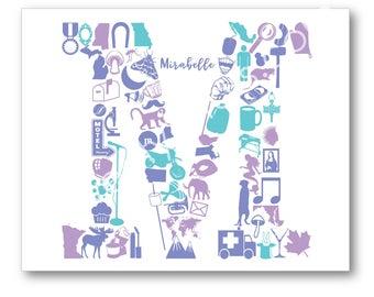 Letter M Monogram Wall Poster Print, Words Beginning with Letter M, M Nursery Wall Art, Wedding M Art, M Initial Art, M Monogram Canvas