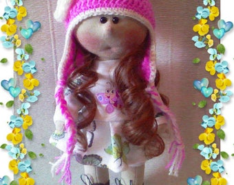 A doll of jersey Interior doll Handmade doll Textile doll Doll for the girl Tilda doll Cloth doll  A doll as a gift A toy Doll