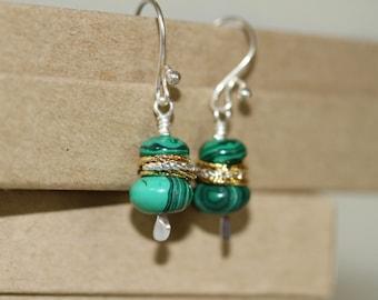Mixed Metal Gold and Silver Malachite Short Dangling Earrings Fish Hook Ear Wires, Green Earrings, Malachite Earrings