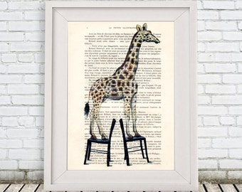 Giraffe Art, Giraffe Print, Giraffe Illustration, Giraffe Decor, Giraffe motif: Giraffe standing on chairs