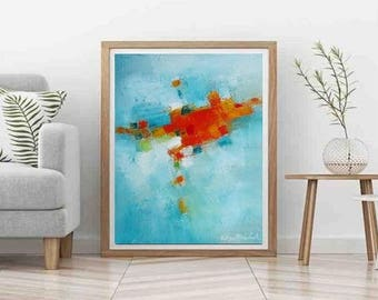Turquoise abstract art, Modern Art, blue painting, Contemporary art, Orange and Turquoise wall art, home decor, beach living, coastal decor