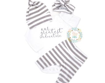 Newborn Baby Gender Neutral Our Greatest Adventure coming home outfit Gray and White Stripe theme going home set hello world baby shower