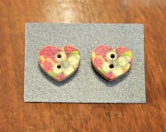 Floral heart button stud earrings