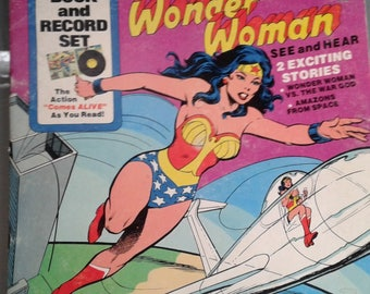 Wonder Woman, Book and Record Set, Vintage Record Album, Vinyl LP, Wonder Woman vs the War God, Amazons from Space, Peter Pan Record Label