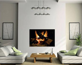 Burning Fire Wall Decal, Hot Fire Flames Vinyl Sticker For Large Or Small  Fireplace,