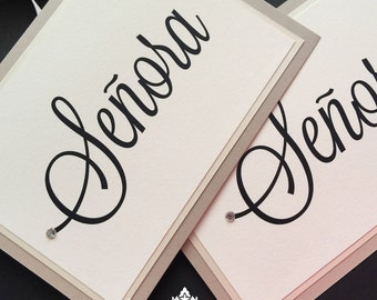Hanging Chair Signs, Bride and Groom Signs, Madame and Monsieur Signs, Señora and Senor Signs
