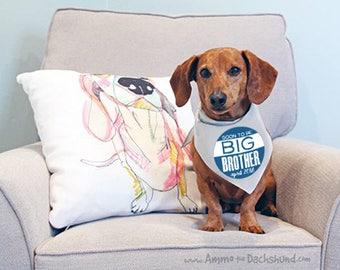 Set of 2 Big Brother Dog Bandana, Big Brother Dog, Pregnancy Announcement, Photo Prop Pregnancy Announcement, Dog Shirt