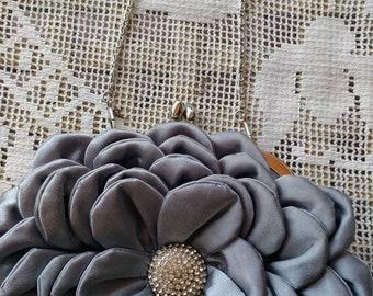 Handbag grey bag big wedding bag gray flower woman vintage Satin
