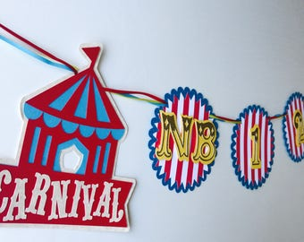 Carnival Circus First Year Banner, Carnival Birthday Banner, Circus Birthday First Year Banner