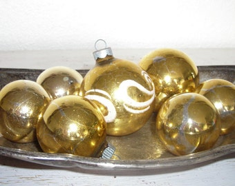 soft gold Christmas ornaments - vintage glass balls one with snowy white swirls - shabby cottage chic distressed - ornate hollywood regency