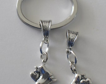 Sterling ICE SKATE Key Ring - Key Chain - Sports