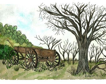 Original Pen and Ink with Watercolor Painting - Old Wooden Wagon in Pasture Beside Tree - Not a Print