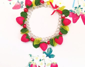 bracelet strawberry polymer clay