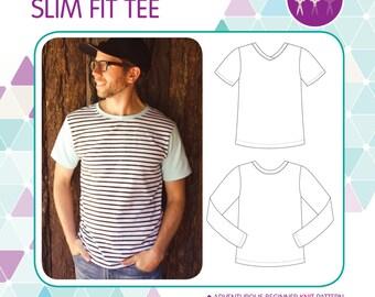 PATTERN MEN'S Slim Fit Tee - PDF Sewing Pattern - Instant Download - Tadah Patterns