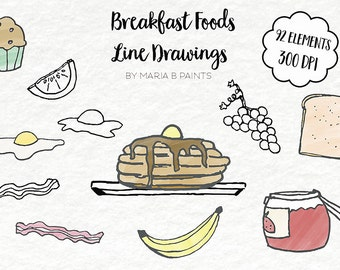 Clip Art - Line Drawings, Painted, Breakfast Food, Pancakes, Bacon, Eggs, Sunny-side-up, Jam, Banana, Toast, Grapes, Bagel, Bread, Loaf