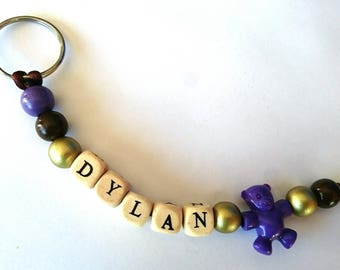 Keychain personalized purple golden brown