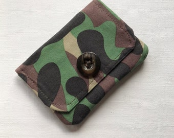 Gift Card Holder, Camo Fabric, Credit Card Holder, Business Card Holder, Gift for him, Gift for her, Minimalist Wallet, Handmade