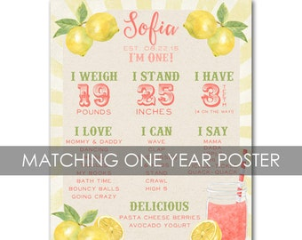 Pink Lemonade Poster, First Year Poster Vintage Birthday First Year Poster - customized and personalized - digital file