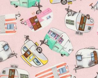 Vintage Campers Pink, Timeless Treasures, Quilting Cotton