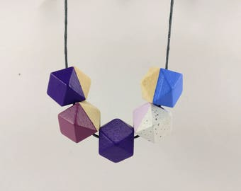 Geometric Necklace - Ultraviolet, Pink & Granite | Statement Necklace | Gift for her | Geometric Jewellery | Beaded necklace | Ultraviolet